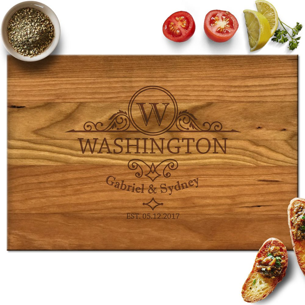 Froolu Classic wooden cutting boards for Name Initiails Engraved Housewarming Gifts