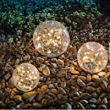Garden Solar Lights, Cracked Glass Ball Waterproof Warm White LED for Outdoor Pathway Walkway Patio Yard Lawn, 1 Globe…