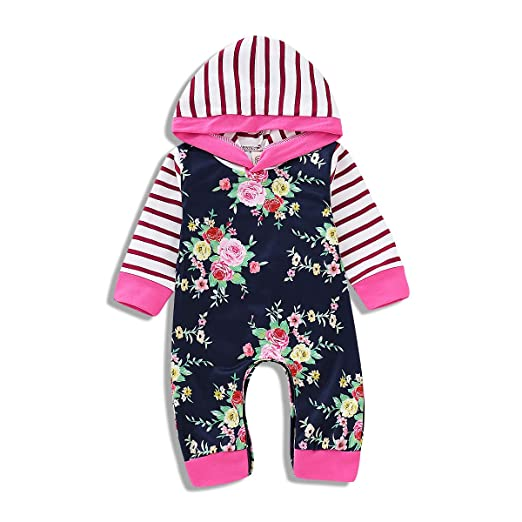 1c614f290e0a Amazon.com  Baby Boy Girl Floral Romper Deer Jumpsuit Onesies ...
