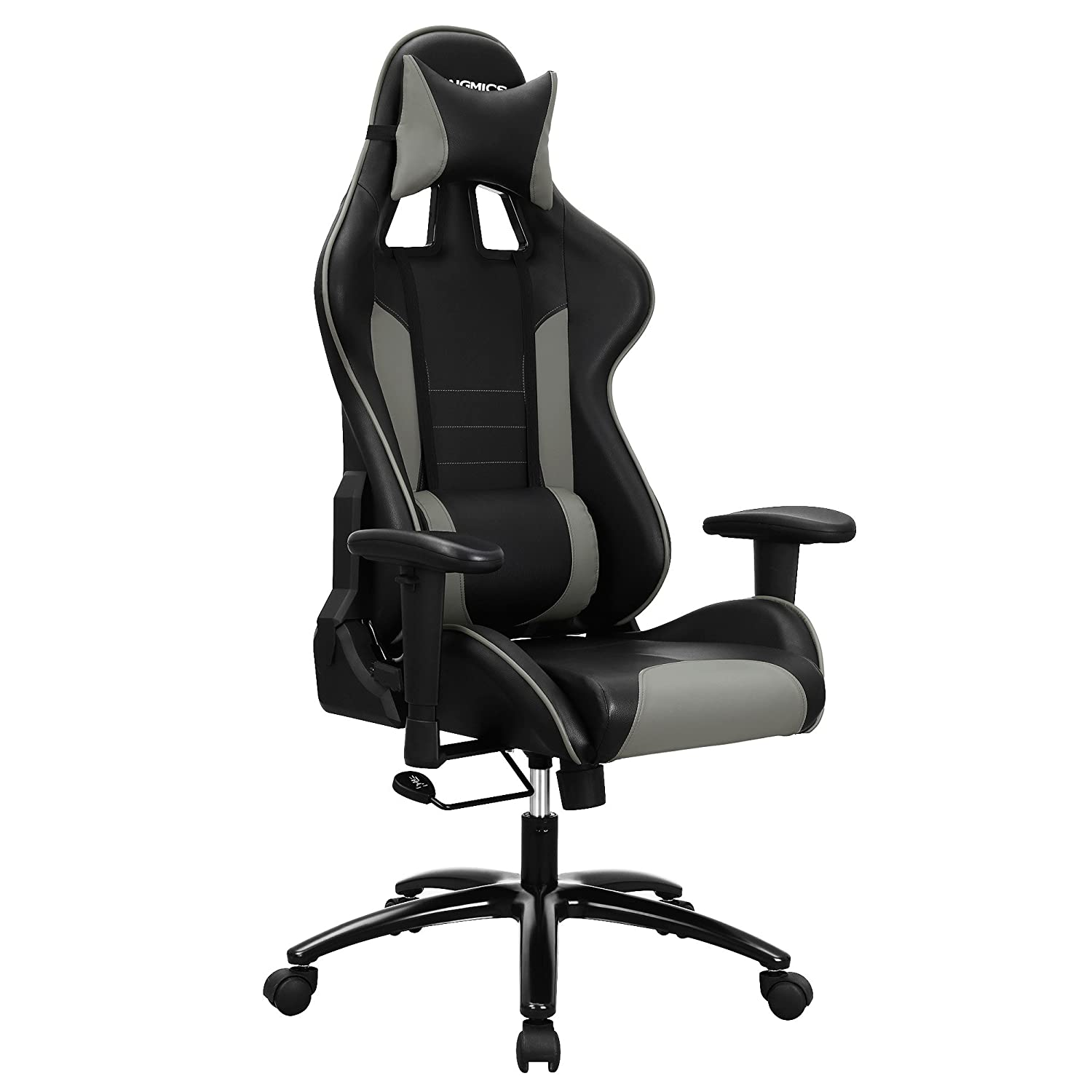 SONGMICS Gaming Swivel Office Chair with High Back, Molding Foam Padded Cushion, Adjustable Headrest and Lumbar Support/for Home or Office Desk Black and Grey URCG17GY-