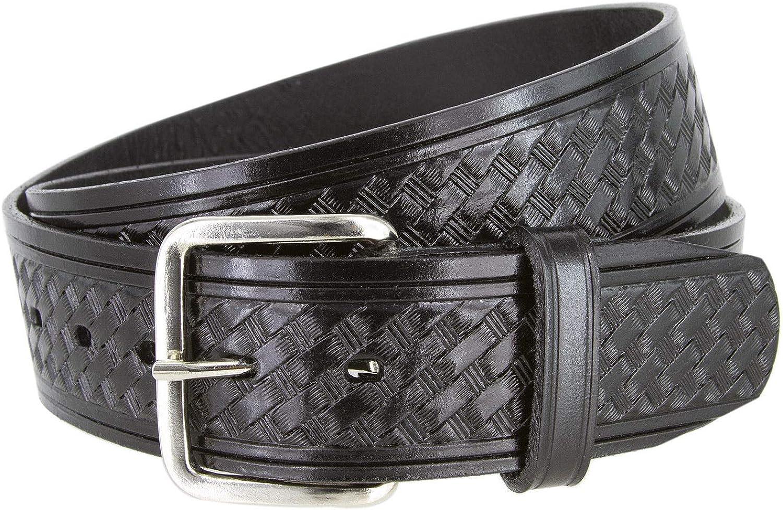 Durable Genuine Leather Mens Basketweave Utility Uniform Work Belt 1-3//4 Wide Black Color