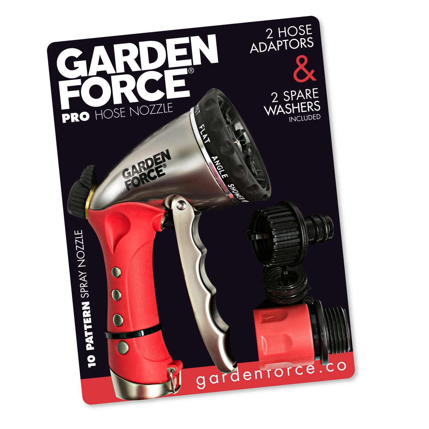 Garden Force Garden Hose Nozzle/Hand Sprayer By, 10 Spray Patterns, Heavy Duty Leak Proof Zinc Alloy Design, Rust Resistant Chrome Plating, Flow Control For Precise Water Pressure, BONUS 2 Washers