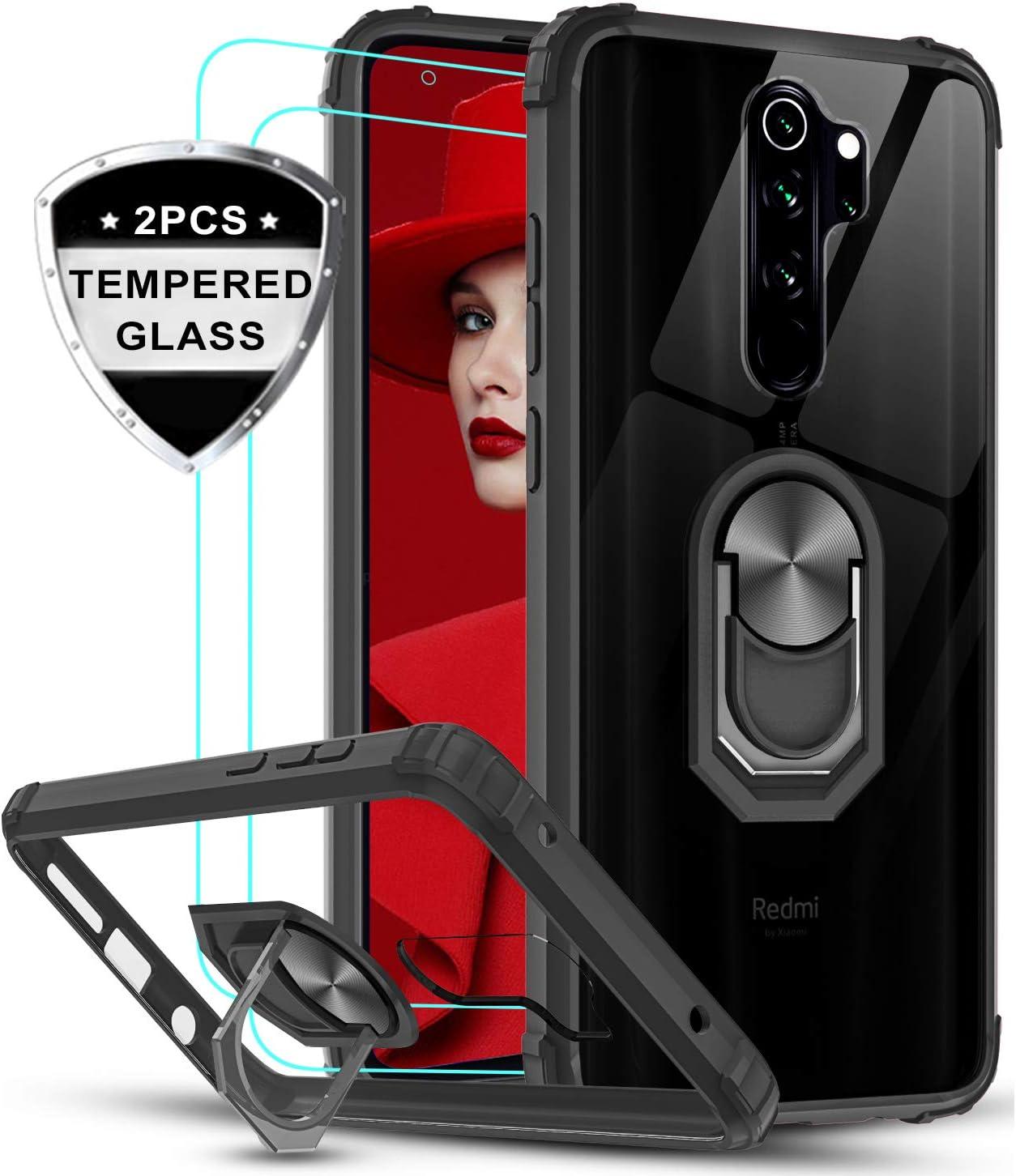 LeYi Funda Xiaomi Redmi Note 8 Pro con [2-Unidades] Cristal Vidrio Templado,Transparente Carcasa con 360 Grados iman Soporte Silicona Bumper Antigolpes Armor Case para Movil Note 8 Pro,Clear Negro