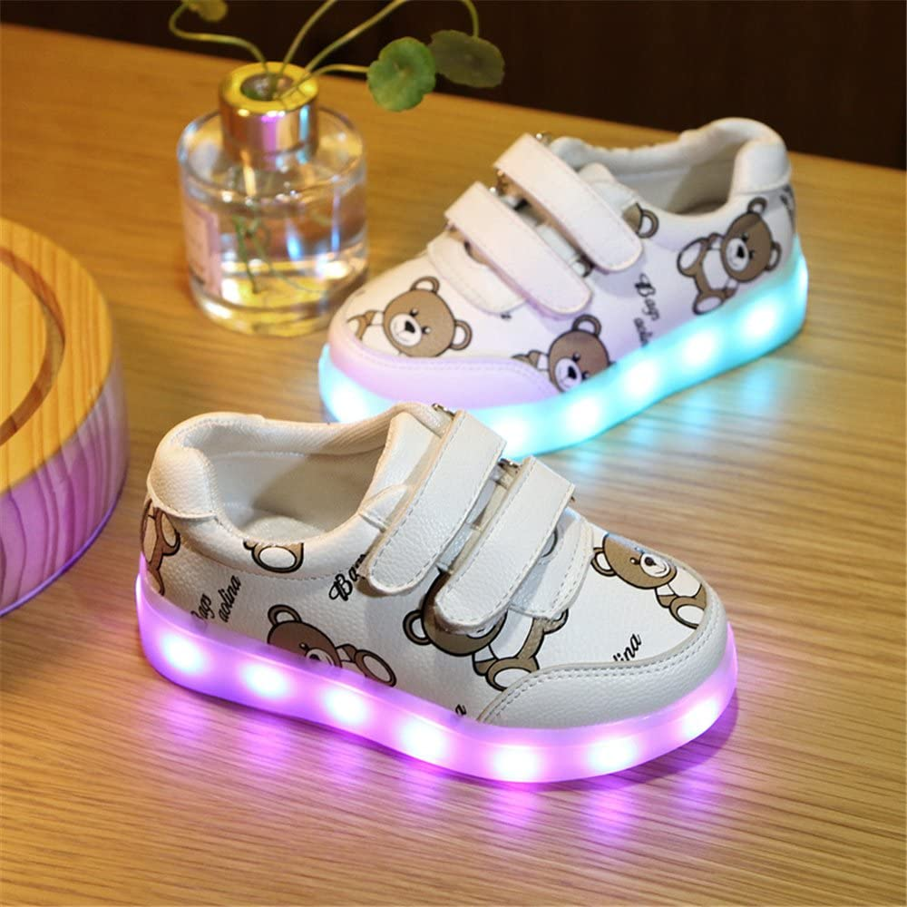 Kids Boy and Girls 11 Color Led PU Sneakers Light Up Flashing Skateboard Shoes