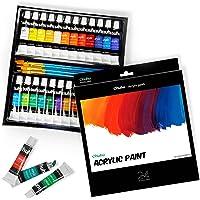 Ohuhu Complete Acrylic Paint Set - 24Ñ… Rich Pigment Colors (12 Ml, 0.42 Oz.) - 6 X Art Brushes - For Painting Canvas…