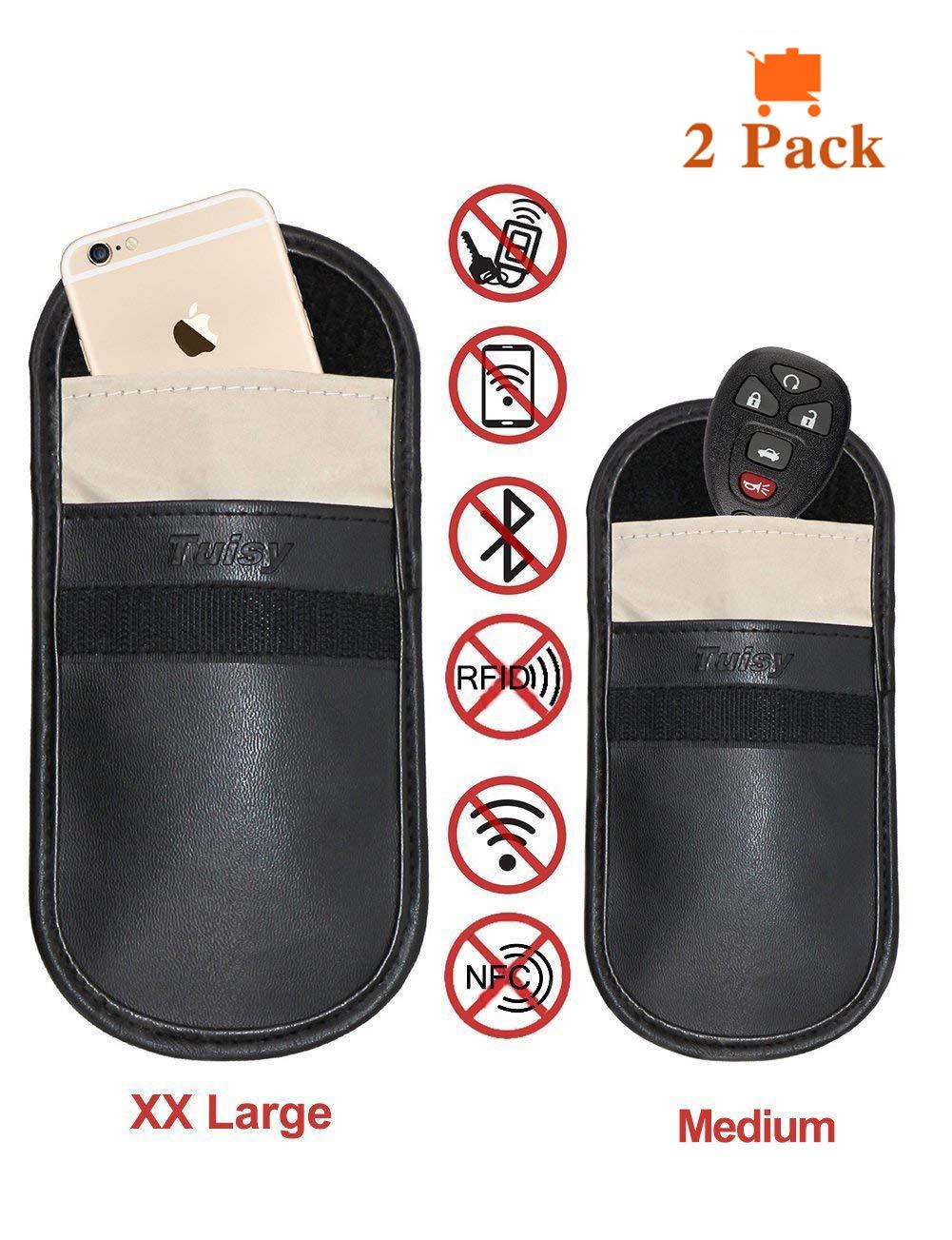 Auto Schlüssel Signal Blocker Tasche - Tuisy Signal Blocker Tasche RFID Schlüsselloser Eintritt Fob Schutz Strahlung Schild Tasche für Smartphone Privatsphäre Sicherheit EMF Schutz, Faradaysche Tasche, WIFI/GSM/LTE/NFC Blocker (2-Pack,