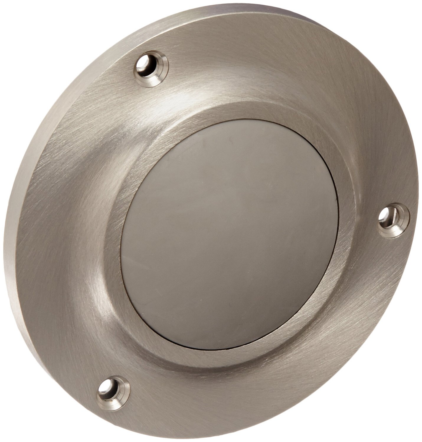 Rockwood 415.15 Brass Convex Solid Cast Wall Stop 4 Diameter 8-32 x 2 RH MS Fastener with Toggle Bolt Satin Nickel Plated Clear Coated Finish 8-32 x 2 RH MS Fastener with Toggle Bolt 4 Diameter Rockwood Manufacturing Company