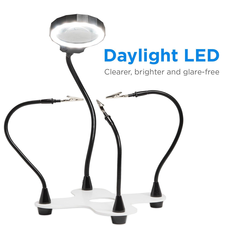 2x Vergr/ö/ßerung Fancii Dritte Hand mit Lupe und LED Lampe Helfende Hand hochbelastbarer mit 3 einstellbaren Lichtst/ärken und 5 flexiblen Armen