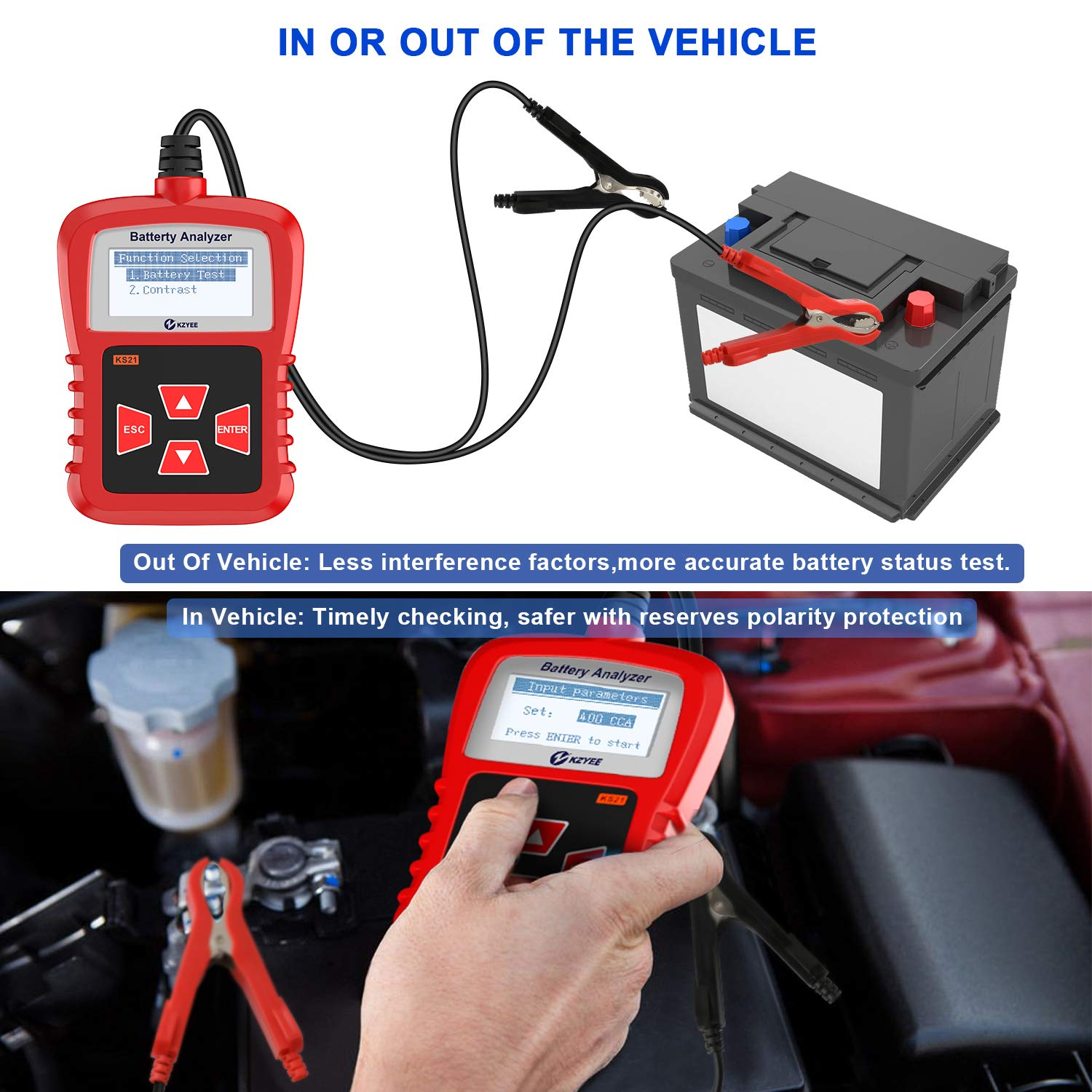 Kzyee KS21 Car Battery Tester, Automotive 100-1700 CCA 12V Battery Load Tester Cranking and Charging System Diagnostic Tool Digital Battery Analyzer by Kzyee (Image #3)