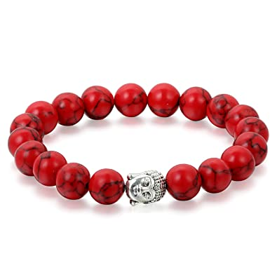 9d1c180de5c0 Flongo Pulseras budistas Buda Budismo Pulsera roja Brazalete de energía  Buena Fortuna, Bendición 10mm, Hombre Mujer