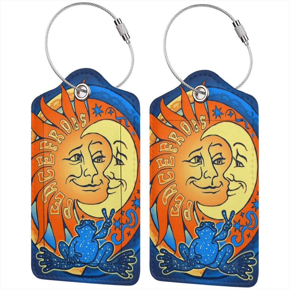 Godzigod Travel Luggage Tags PU Leather Bag Tags Suitcase Baggage Label Handbag Tag with Full Back Privacy Cover Steel Loops Sun and Moon Peace Frog