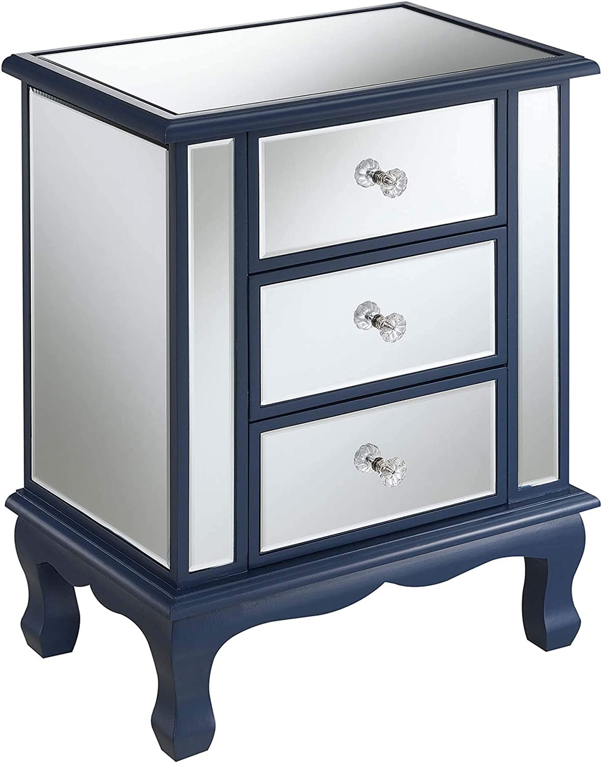 Convenience Concepts Gold Coast Vineyard 3 Drawer Mirrored End Table, Cobalt Blue / Mirror