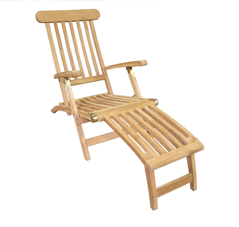 amazon com d art collection teak classic steamer chair patio