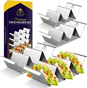 Set of 4 Taco Holder Stand - Dishwasher & Oven Safe Taco Stand - Easy to Serve Taco Rack - Taco Tray with Handles By Western Home Goods