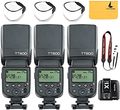 3X Godox TT600 2.4G Wireless Flash Speedlite Master//Slave Flash with Built-in Trigger System for Nikon Cameras+Godox X1T-N 2.4 G Wireless Flash Trigger