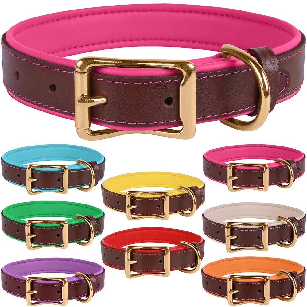 Brown Pink Neck Size 14\ Brown Pink Neck Size 14\ BronzeDog Leather Dog Collar Premium Soft Padded Heavy Duty Pet Collars for Dogs Small Medium Large Brown Pink bluee Red Green Purple Beige (Neck Size 14  16 , Brown Pink)