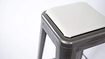 Square Stool Cushion For Tolix And Similar Stackable Stools White