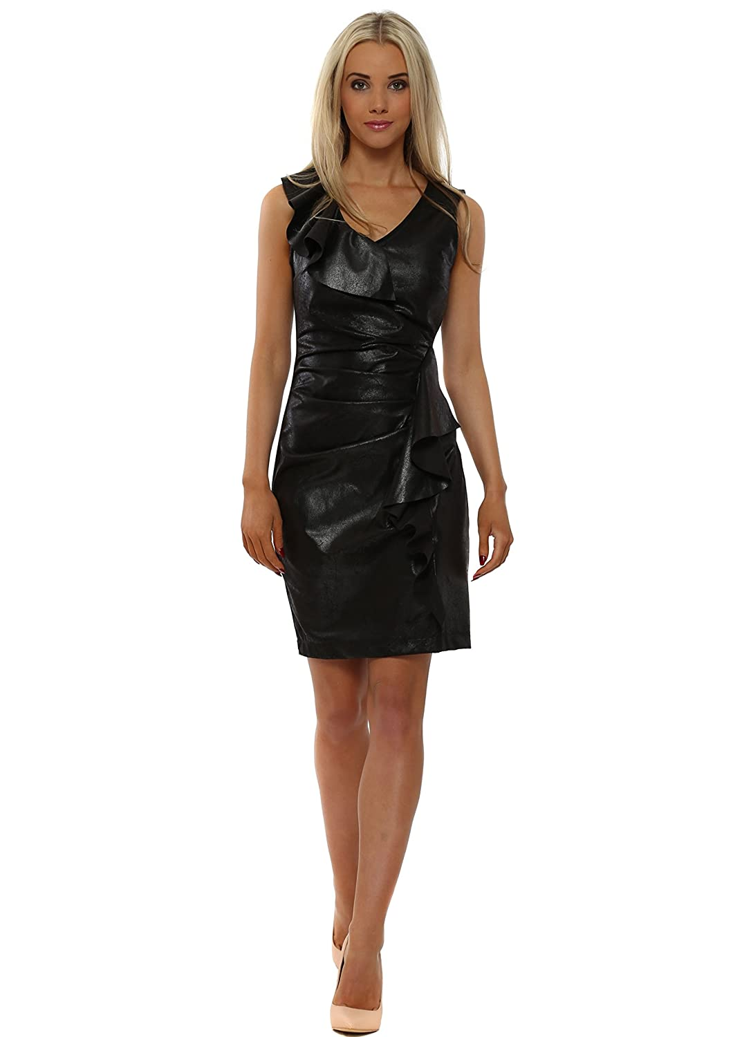 Rinascimento Black Faux Leather Waterfall Frill Pencil Dress