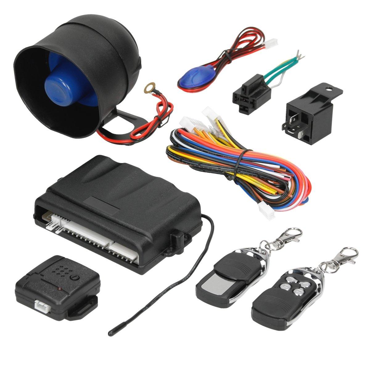 ECD Germany Universal KFZ Alarm - Alarmanlage Melder - mit Memory Funktion - inkl. Funkfernbedienung - Auto-Sicherheits-Alarmsystem