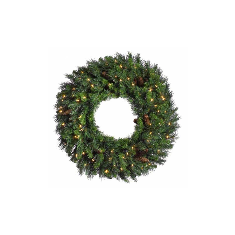 Vickerman 48'' Pre-Lit Cheyenne Pine Artifical Wreath - Warm White LED Lights