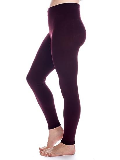 aee63808b Noble Mount Women s Fleece Lined Footless Tights - Burgundy - Small Medium