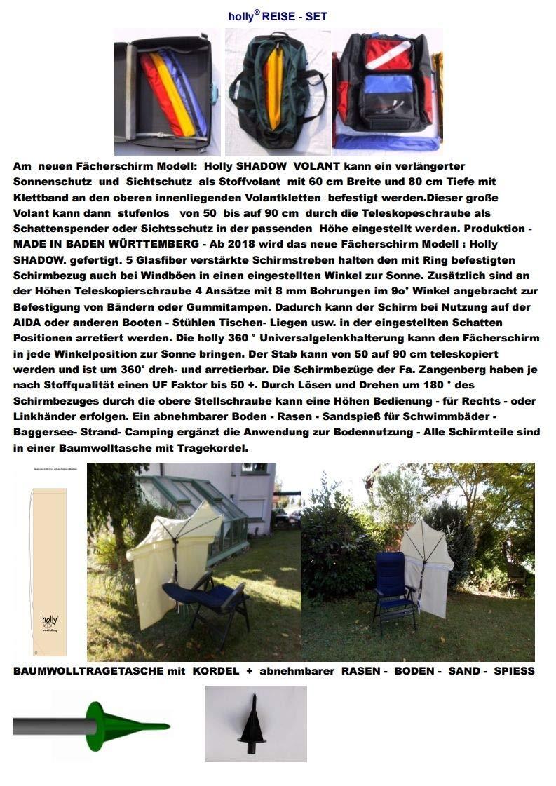 Blau Holly mobiler teleskopierbarer 360° Fächerschirm 140 x 70cm