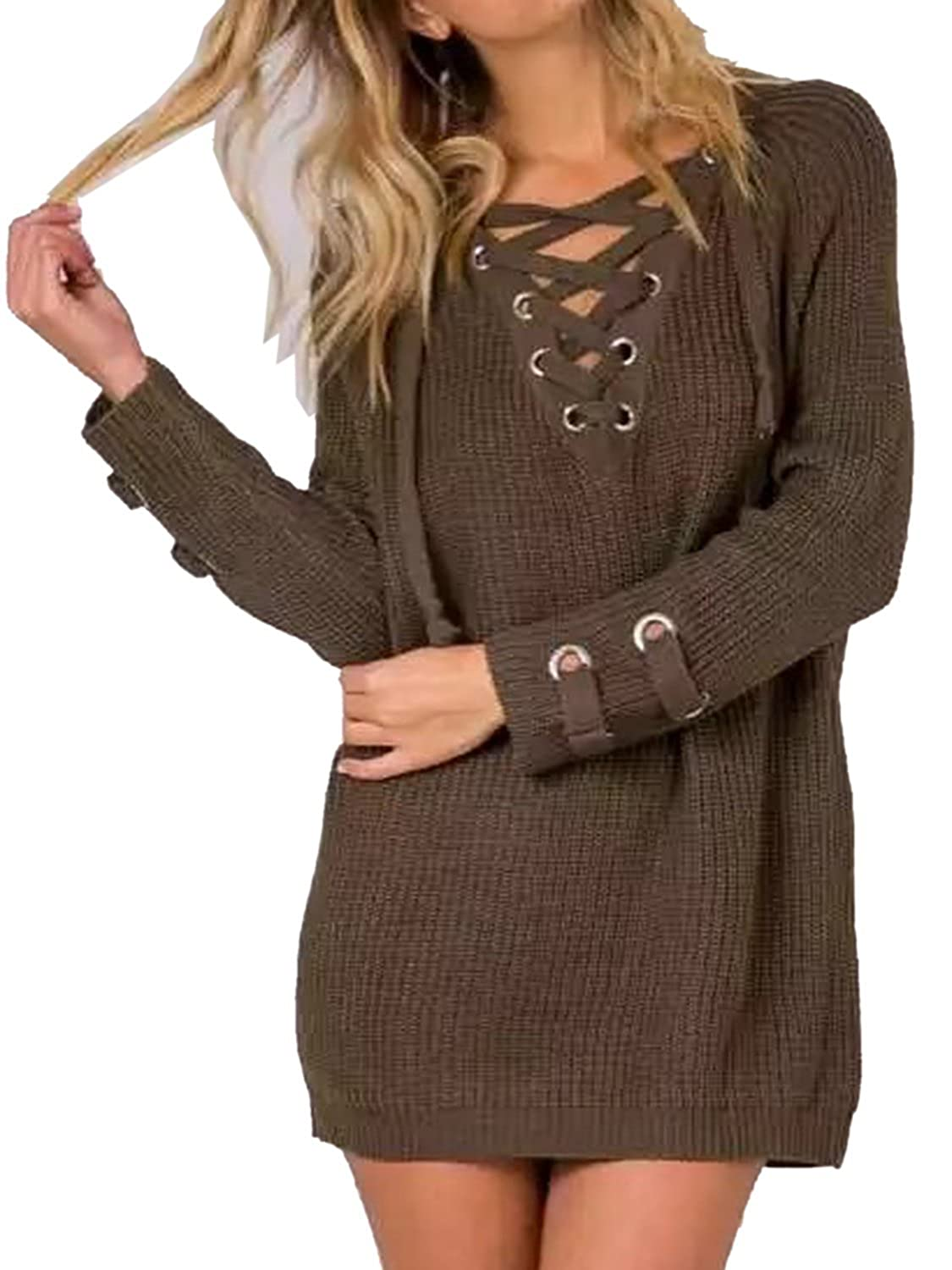 Summer Mae Women's Lace Up Front V Neck Long Sleeve Knit Sweater ...