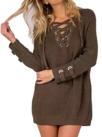 fc43cb3208 Women s Lace Up Front V Neck Long Sleeve Knit Sweater Dress Top at ...