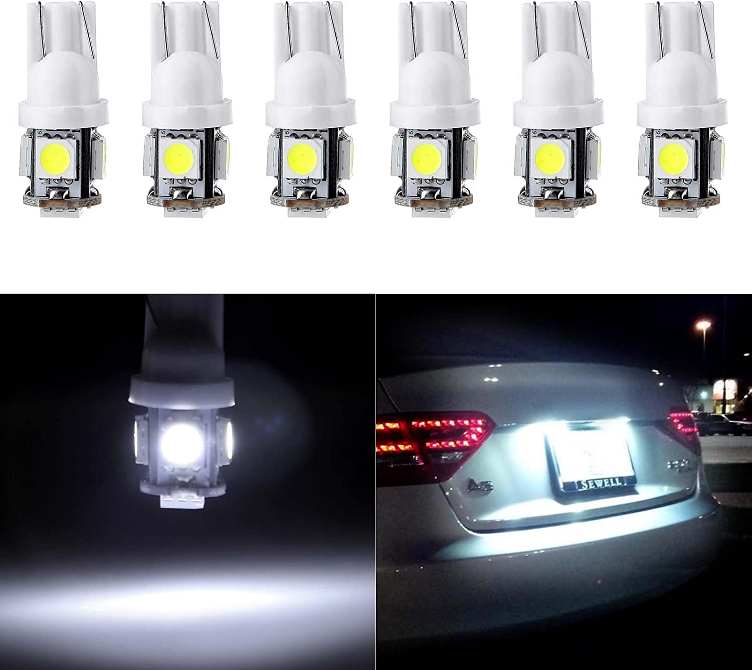 cciyu License Plate Light, T10 W5W Wedge 168 194 LED Bulb for Interior Dome Map Lights Courtesy Light 6000K Xenon White,6Pack
