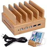InkoTimes Bamboo Wood USB Charging Station - Best CS05 Fast Charging Station for Multiple Devices - Perfect for Smart Phone iPhone X iPad Tablets Home Family Office or Gift Giving