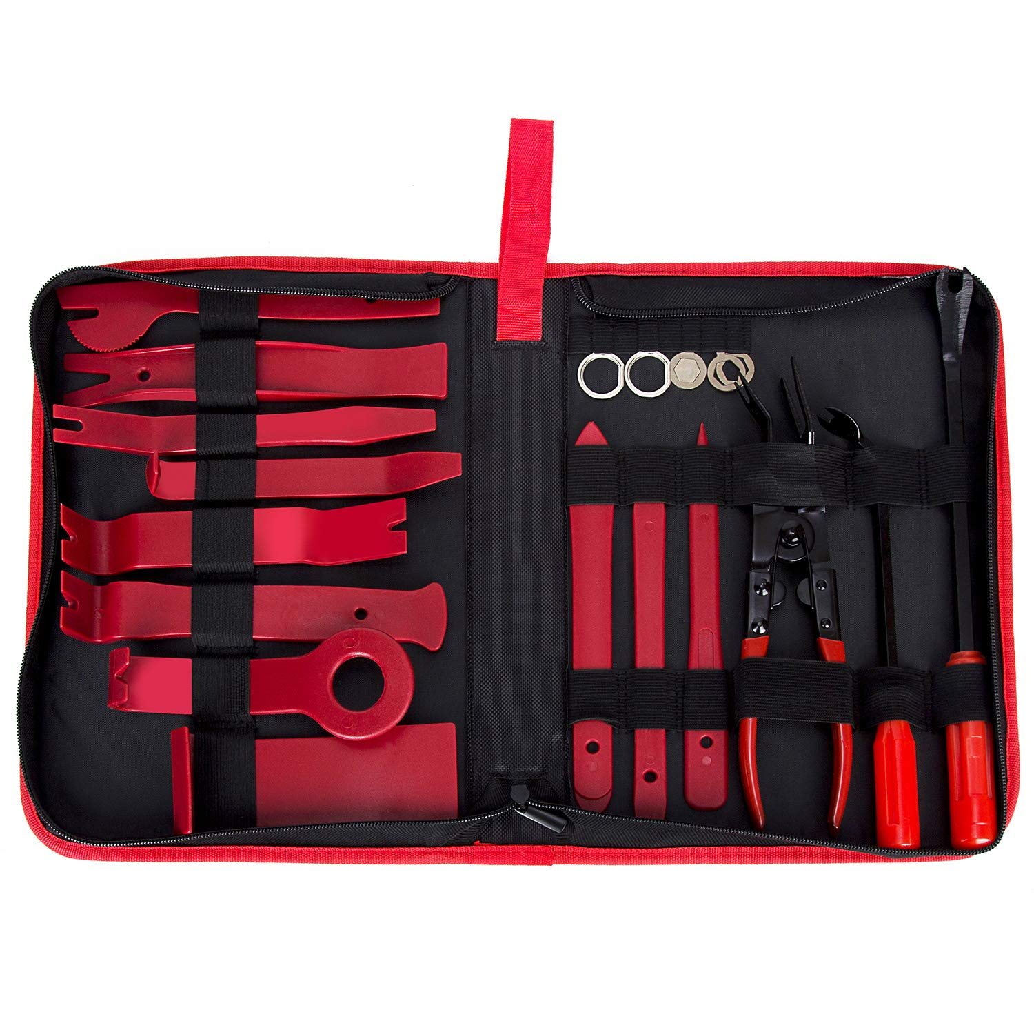 TLEEP 19 Pieces Car Panel Removal Tools Kit, Auto Trim Door Panel Window Molding Upholstery Fastener Retainer Clip Tool, Pliers and Pry Bar Set (Red)