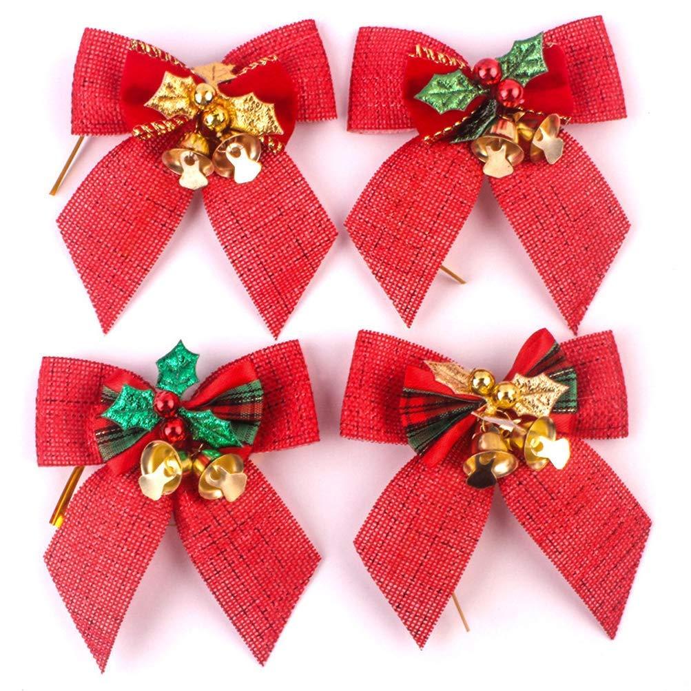 xunlong lote de 12 lazos de navidad con campanas para árbol de