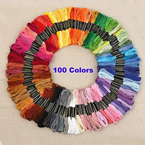 Amazon Com Embroidery Thread 100 Colors Polyester Embroidery