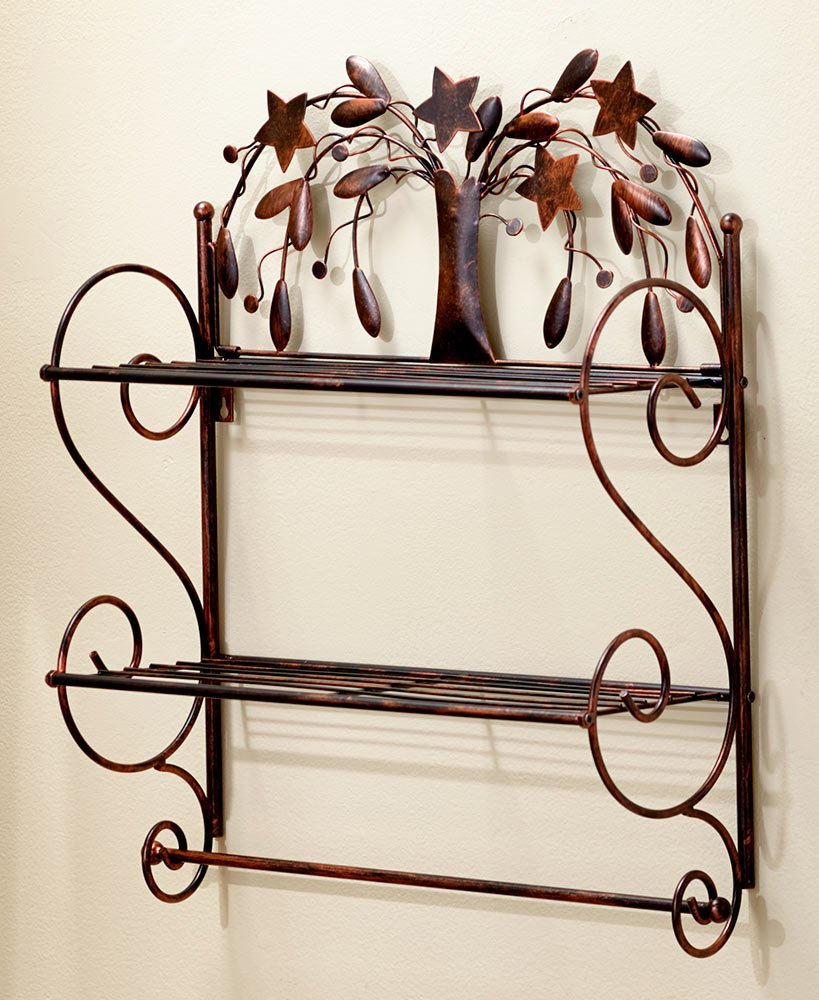 The Lakeside Collection Bronze Country Bathroom Wall Shelf