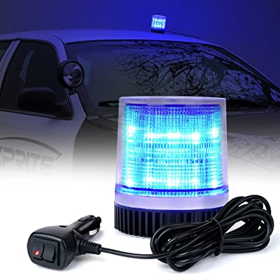 Xprite Blue 12 LEDs Rotating Beacon Strobe Light w/Magnetic Mount, Revolving Warning Flashing Light for Caution Vehicle Fire Service, Emergency Ambulance, Volunteer Service: Automotive