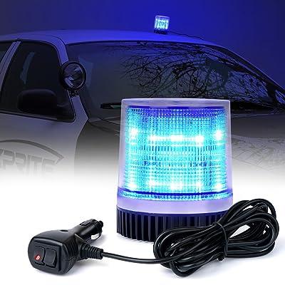 Xprite Blue 12 LEDs Rotating Beacon Strobe Light w/Magnetic Mount, Revolving Warning Flashing Light for Caution Vehicle Fire Service, Emergency Ambulance, Volunteer Service: Automotive