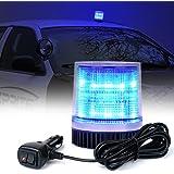 Xprite Blue 12LEDs Rotating Revolving LED Beacon Strobe Light, with Magnetic Mount for Snow Plow Truck UTV 12v Vehicle