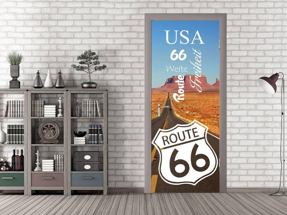 GRAZDesign Klebefolie Tür Route 66 - Fototapete Tür für Wohnzimmer - Türposter selbstklebend Verein - Türtapete Bar / 80x205cm / 791633_80x205
