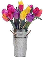 Stargazer Barn - Happy Bouquet - 15 Stems of Fresh Tulips in Rainbow Assortment  with Vase - Farm Fresh