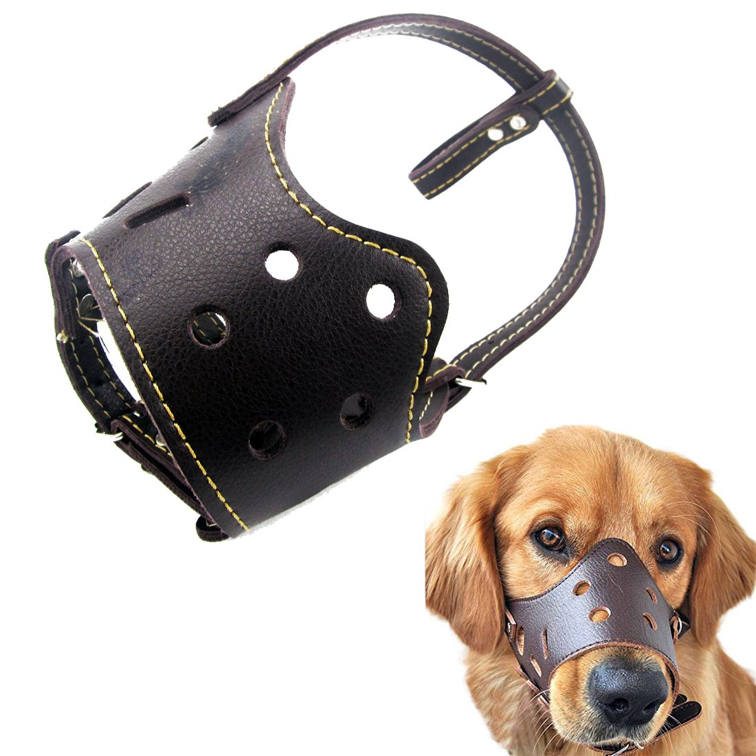 Kismaple cuir véritable réglable Chien de compagnie Bouche Muselières Couverture Barking Anti-mordant Masque pour chien Marron (XL Mouth(28-32cm))