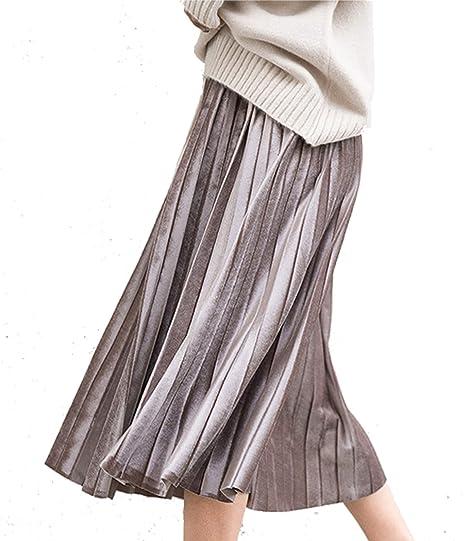 Botanmu Mujer Falda Plisada Metalica Midi Cintura Alta Cintura ...