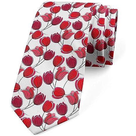Corbata, estilo de dibujo abstracto de flores, bermellón rubí y ...