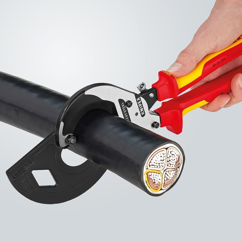 Multicolore certifi/ées VDE 280 mm Knipex 95 36 280 Coupe-c/âbles Principe du cliquet isol/ées par Gaines bi-mati/ère