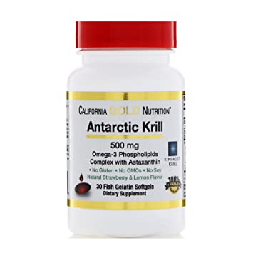 California Gold Nutrition Antarctic Krill Oil with Astaxanthin RIMFROST, Natural Strawberry Lemon Flavor, 500