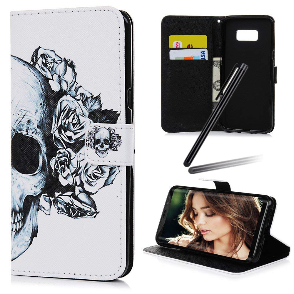 S8 (2017) Case, Samsung Galaxy S8 Wallet Case, Galaxy S8 Kickstand Case, SKYMARS PU Leather Shock Absorbing Bumper Art Painting Kickstand Cards Slot Wallet Magnet Stand Flip Folio Cover Case for Samsung Galaxy S8 (2017) Blue Skull CAPRICECASE