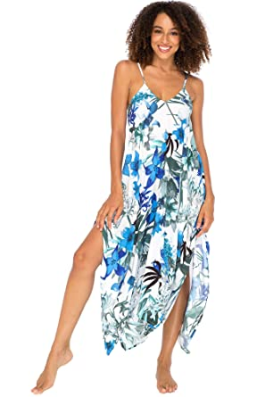 2938eeb01445 Back From Bali Womens Sleeveless Floral Summer Maxi Dress, Spaghetti Straps  Long Casual Boho Sexy Beach Cover Up at Amazon Women's Clothing store: