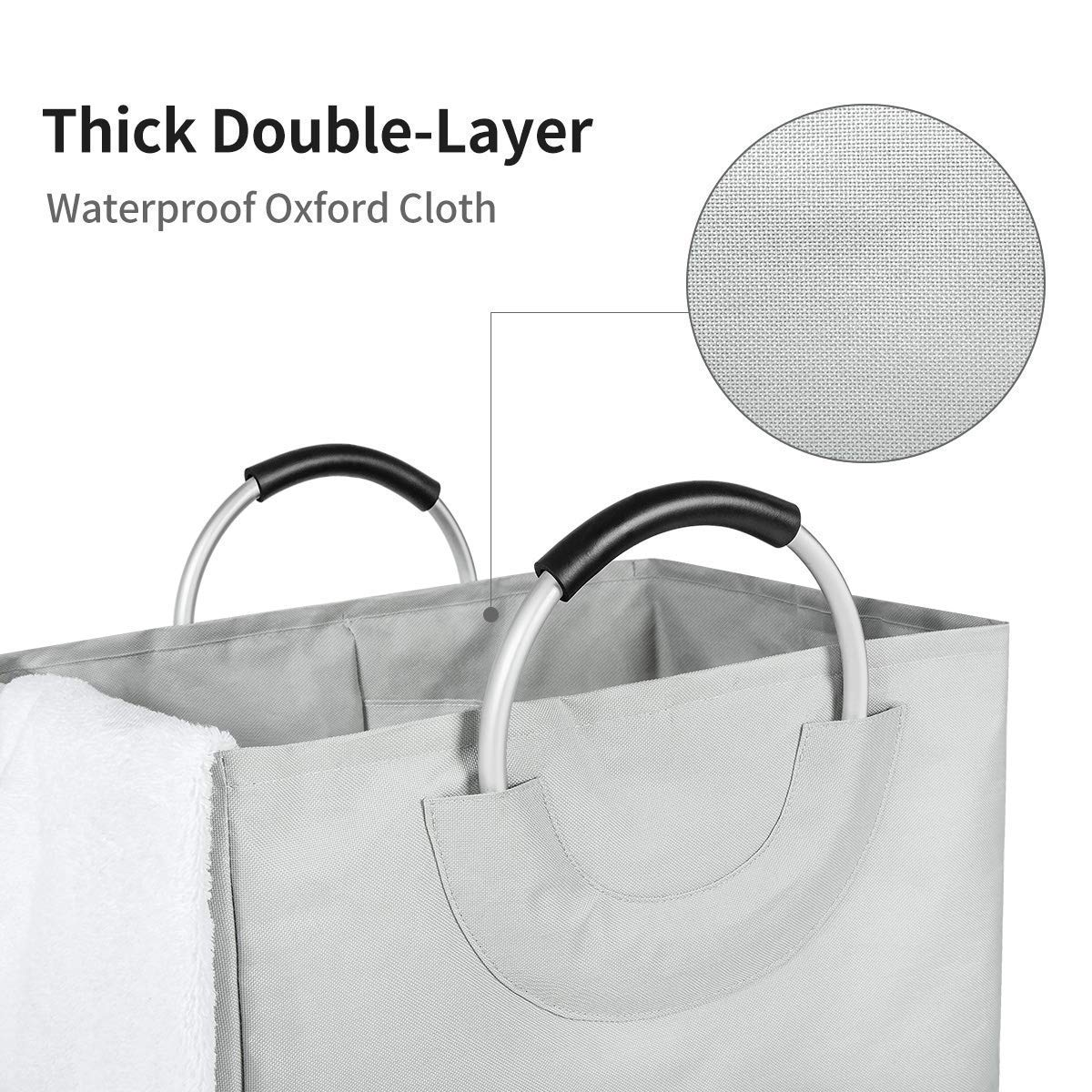 WISHPOOL Double Large Foldable Laundry Hamper Divided Handy Stand Collapsible Laundry Basket Waterproof Bag Bin Organizer Storage Corner with Handles (Lightgrey)
