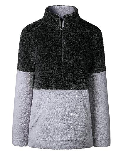 8c785661 Famulily Women's Long Sleeve Zip Up Sherpa Sweatshirt Fuzzy Fleece Pullover  Outwear with Pocket