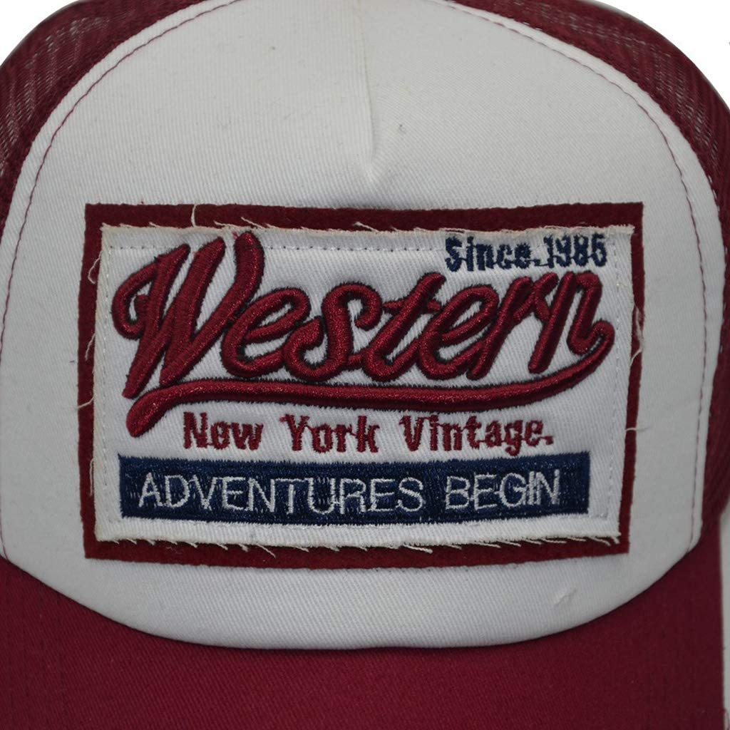 museourstyty Unisex Vintage Western Letters Besticktes Logo Patch Baseball Cap Atmungsaktiv Mesh R/ücken Casual Distressed Snapback Trucker Hut