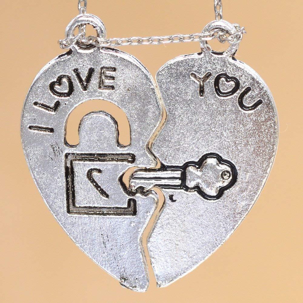 #YBL/_22495 30x15MM Split Heart Charm Couple Jewelry Silver Tone Zinc Alloy Charm 61303-2042 5 Pcs